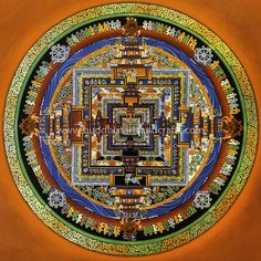 Kalachakra Mandala – Thangka Painting   More info here http://buddhistartsandcrafts.com/kalachakra-mandala-thangka-painting-item-tp1028/  Note: The color seemed to have changed when uploaded to Pinterest site. Check our website for the original picture.