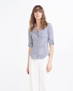 Image 2 of NAVY BLUE STRIPED SHIRT from Zara