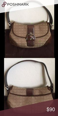 ✨ NEW Brown Coach Soho Signature Handbag! Beautiful brand new Coach handbag with original dust bad included. Tan color with brown swayed detail and dark brown trim. Zipper pocket on the inside and smaller pocket on the back. Perfect early Christmas gift for a loved one or treat for yourself 💕💕 Coach Bags