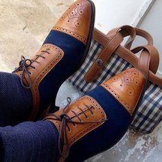 New men's tan blue derby shoe,  leather lace up shoe, brogue style mens shoes , men's shoes, men dress shoes, men dress leather shoe, fashion mens, formal men, dress casual, dress shoes for men, men office shoes, dress leather shoes, leather sole Der Gentleman, Gentleman Shoes, Two Tone Brogues, Blue Brogues, Oxfords, Loafers Men, Casual Leather Shoes, Suede Leather, Real Leather