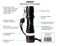 Check Out one of the brightest led flashlight that is under thirty dollars Here: http://simonflashlights.net/product/cree-led-flashlight-t6-pro/ Just $30.00