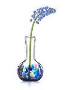 hand painted glass vase with flower