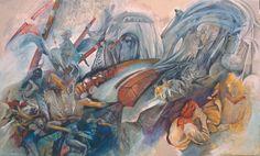 La corsa dei Ceri di Gubbio in un dipinto di Loretta Surico
