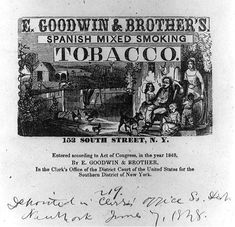 1848 advertising letterhead for E. Goodwin & Brother's Spanish mixed smoking tobacco.