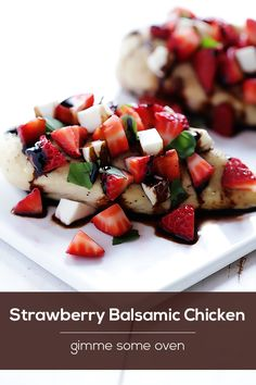 This strawberry balsamic chicken recipe is topped with a fresh strawberry caprese salsa that everyone will love! Balsamic Chicken Recipes, Recipe Chicken, Baked Chicken, Healthy Snacks, Healthy Recipes, Eating Healthy, Strawberry Balsamic, Yummy Food, Tasty