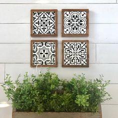 Wall Decor Set, Office Wall Decor, Patio Wall Decor, Rustic Wood Signs, Rustic Decor, Rustic Tiles, Azulejos Diy, Spanish Tile, Creation Deco