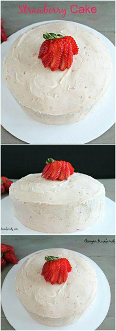 Strawberry Cake www.thenymelrosefamily.com #strawberry #cake #dessert