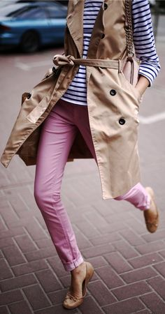 pink skinny jeans.striped top.nude/neutral vest or trench. cute with flat shoes.