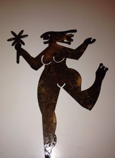 "Free Spirit woman in her birthday suit ___ Metal Yard Art Size is 8"" x 10"""