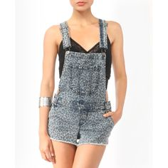 Leopard Print Denim Shortalls ($11) ❤ liked on Polyvore featuring forever 21 and short overalls