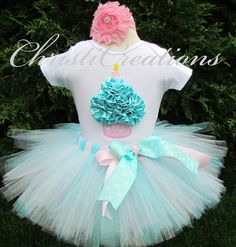 First Birthday Tutu Outfit--Aqua and Pink--3D Cupcake--Baby Girl 1st Birthday Tutu Set--Photo Prop on Etsy, $58.00