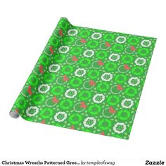 Christmas Wreaths Patterned Green Wrapping Paper