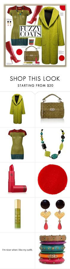 """""""Fuzzy Coat"""" by fassionista ❤ liked on Polyvore featuring Puma, Valentino, Missoni, Decadent Jewels, Lipstick Queen, Christian Louboutin, Tracie Martyn and Christian Lacroix"""