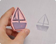 boat Washi, Diy Paper, Paper Crafts, Handmade Stamps, Summer Crafts, Handicraft, Hand Carved, Prints, Inspiration