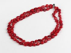 Fashion Double Strand Red Coral Necklace With Multi-Row Clasp