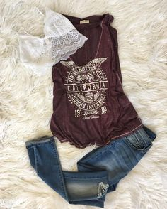 Casual Cool   Distressed Muscle Tee  Amber Bralette  Main Squeeze Jeans