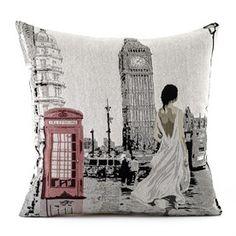 Povlak na polštářek Gobelín žena v Londýně, 45 x 45 cm Throw Pillows, Goblin, Cushions, Decorative Pillows, Decor Pillows, Pillows, Scatter Cushions