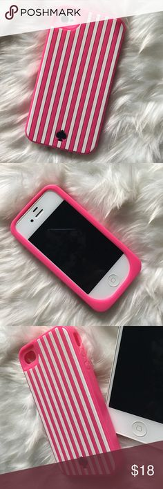 Kate Spade iPhone 4s Hot Pink/White Silicone Cover Kate Spade iPhone 4s Hot Pink/White Silicone Cover. Gently used. iPhone pictured is not included. 🎉Special: Buy 2 Get 1 iPhone 4 Cover Free!🎉 Ask me how! kate spade Accessories Phone Cases