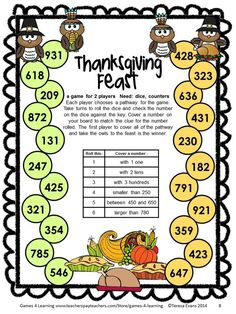 Print and Play Thanksgiving Math Games Second Grade by Games 4 Learning for bringing some fun, Thanksgiving math into the classroom. 14 printable games.  $