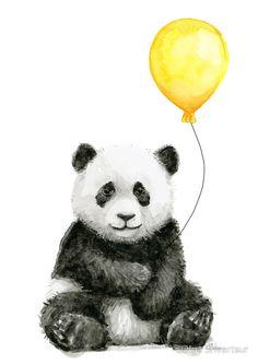 Baby Panda with Yellow Balloon Whimsical Watercolor Animal