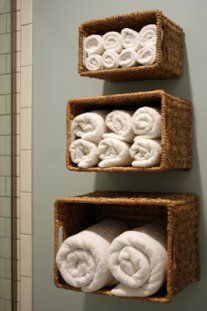 Basket Shelves  Hanging baskets on the wall creates instant storage for towels, toiletries, toys and other things that are currently cluttering your home.    Image Credit and Directions (Baskets):I'm Busy Procrastinating  Image Credit and Directions (Drawers): Homemade