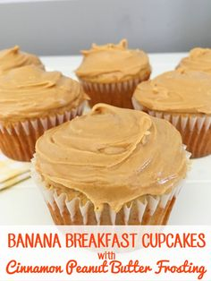 Banana Breakfast Cupcakes with cinnamon peanut butter frosting from This Mama Loves.  The perfect way to start the day or the perfect snack for the kids! Breakfast Cupcakes, Banana Cupcakes, Banana Breakfast, Breakfast Recipes, Cupcake Recipes, Cupcake Cakes, Dessert Recipes, Recipes Dinner, Pasta Recipes