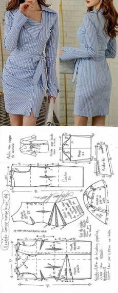 Vestido camisa com manga drapeado Easy Sewing Patterns, Clothing Patterns, Dress Patterns, Sewing Clothes, Diy Clothes, Robe Diy, Shirt Dress Pattern, Dress Shirt, Camisa Formal