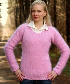 Hand knitted mohair V neck sweater in pink
