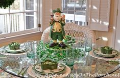 St. Patrick's Day Table with 4-Leaf Clover & Shamrock Dishes