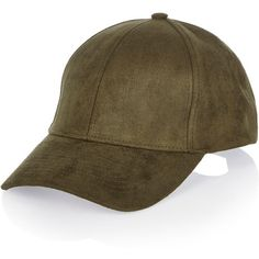 River Island Khaki faux suede cap ($20) ❤ liked on Polyvore featuring accessories, hats, khaki, peaked cap, river island hat, khaki cap, cap hats and river island