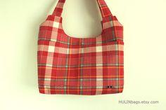 Tote bag BEAUCATCHER shoulder bag red plaid tote bag by HULINbags