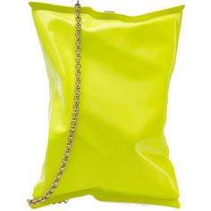 Anya Hindmarch Crisp Packet Clutch ($1,340) ❤ liked on Polyvore featuring bags, handbags, clutches, yellow, neon yellow handbag, chain strap purse, chain handle handbags, neon handbags and clasp purse