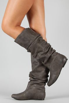 Leatherette Slouchy Knee High Boot $31
