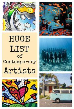 huge list of contemporary artists is part of Art history lessons - Huge List of Contemporary Artists Famousart Contemporary Arte Elemental, Art Doodle, Art History Lessons, History Major, Facebook Art, 3d Figures, Ecole Art, Art Curriculum, Artists For Kids