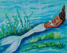 Mermaid Painting Original Canvas Mermaids by LeslieAllenFineArt, $130.00