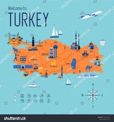 Turkey cartoon travel map vector illustration with landmarks and cities, roadmap. Postcard concept with the most interesting place for visit. Business travel and tourism concept clipart, icons. Travel Maps, Travel And Tourism, Travel Posters, Turkey Cartoon, Turkey History, Turkey Country, Buch Design, Country Maps, Italy Travel Tips
