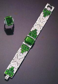 Cartier Art Deco emerald ring and bracelet