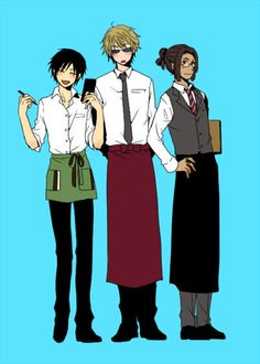 Anime, , Orihara Izaya, , Heiwajima Shizuo, ,Tom, , Durarara!!, , working in a cafe