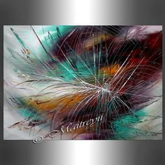 OIL PAINTING Abstract Painting Purple Turquoise par largeartwork