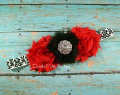Red & Black Chiffon Tulle Flower - Black White Damask Headband - Newborn - Infant - Baby - Toddler - Girl - Adult - Photo Prop