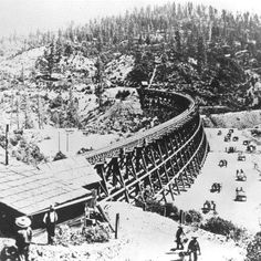 Vintage Photographs of the Incredible Railroad Bridges With Timber Trestles From the and Early Centuries ~ vintage everyday Central Pacific Railroad, Golden Spike, Railroad Bridge, Railroad History, Bonde, California Camping, Park Service, Sierra Nevada, Vintage Photographs