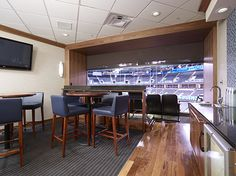 Draper FlexShade ZIP installed in the suites of the amazing Chesapeake Arena in Oklahoma City, OK.Dealer: Russell Interiors, Edmond, OK Photographer: David Cobb, David Cobb Photography, Oklahoma City, OK. #windowshades #motorizedshades #windowcoverings
