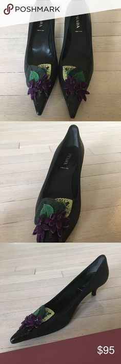Prada black leather pointed heel felt appliqué BRAND NEW never been worked pointed black leather shoes with unique felt and leather design. BRAND NEW and never been worn. Retail over $800 Prada Shoes Heels
