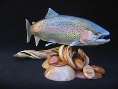 Trout Replicas — The best salmon fish mounts salmon fish replicas steelhead fish mounts replicas rainbow trout fish mounts by luke filmer Salmon Fishing, Trout Fishing, Fish Wood Carving, Wood Carvings, Grayling Fish, Cool Fish, Big Fish, Fish Mounts, Wooden Fish