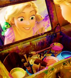 I love how Rapunzel is really into painting, and how her room is completely covered in her art. :) I think she's definitely the most artistic Disney princess! She actually inspired me a lot. Disney Rapunzel, Walt Disney, Tangled Rapunzel, Disney Art, Tangled 2010, Princess Rapunzel, Disney Couples, Flynn Rider, Disney And More