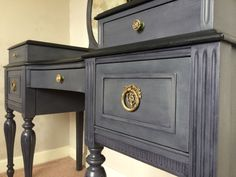 Close up of dressing table I Upcycled with Autentico chalk paint. I used colours pigeon grey and nearly black and black wax. Also cleaned the original handles with vinegar.