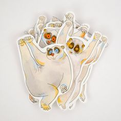 Slow Loris Garland  Paper garland of twelve little slow lorises. 10 feet of…