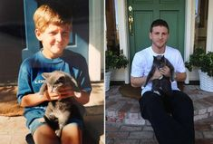 This is a collection of Before and After photos of pets. Before, when they were little teensies, and after, when they're fully grown. Super adorable. Sure