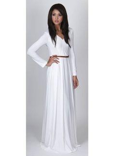 Plain white long sleeve maxi dress