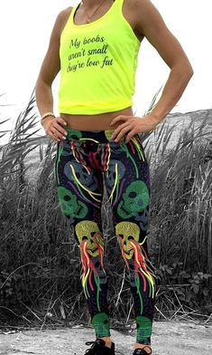 Colorful Skull Leggings and My Boobs Aren't Small, They're Low Fat tank - fitness leggings and workout tights for running, crossfit, and yoga - Leggings in fun colors for women and girls!